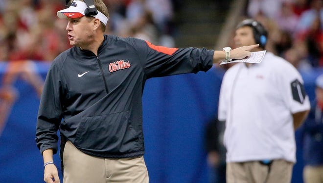 Jan 1, 2016; New Orleans, LA, USA; Mississippi Rebels head coach Hugh Freeze during the second half in the 2016 Sugar Bowl against the Oklahoma State Cowboys at the Mercedes-Benz Superdome. Mandatory Credit: Derick E. Hingle-USA TODAY Sports