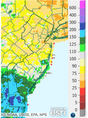 The percent of average precipitation in New Jersey over the past 90 days.