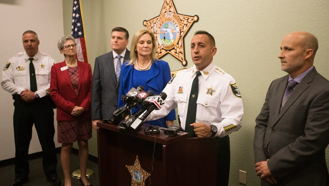 Lee County Undersheriff Carmine Marceno announces on Wednesday that the sheriff's office will immediately shift 40 deputies, detectives and supervisors to local schools, bringing the number of armed sheriff's office personnel assigned to schools to 100.