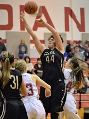 Clyde's Monica Driscoll jumps for a loose ball between