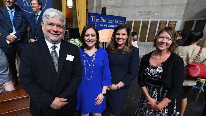 5/30/18 2:36:57 PM -- New York, NY, U.S.A  -- Pulitzer Prize Awards Ceremony --    The USA Today Network Pulitzer winners with Peter Bhatia, l, (Cincinnati Inquirer) USA Today Network President  Maribel Wadsworth, 2nd from right,  USA Today Editor Nicole Carroll, 3rd from right, Andie Dominick of the Des Moines Register, right.  