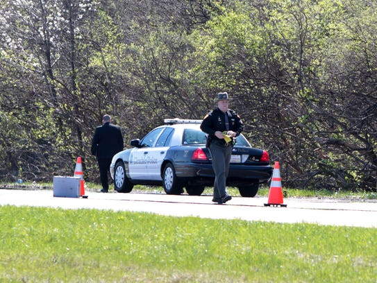 Police investigate in the southbound lanes of I-75,