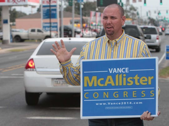 U.S. Rep. Vance McAllister campaigns for re-election to his 5th Congressional District seat in Monroe, La., on Tuesday, Nov. 4, 2014.