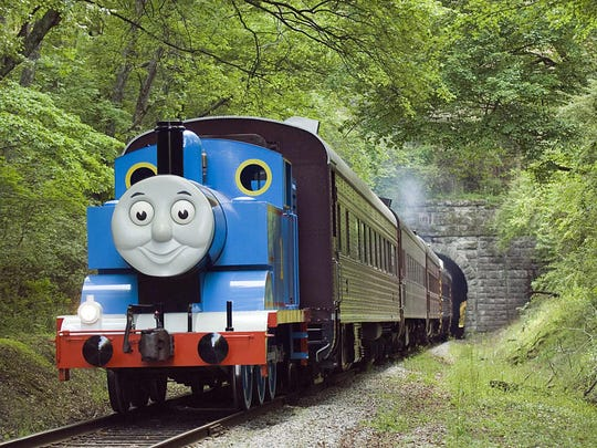 Thomas steams down a track during the Day Out with