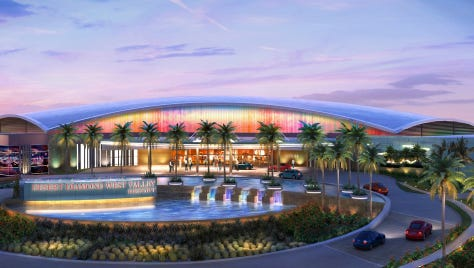 The Tohono O'odham Nation's proposed casino project near Peoria has drawn mixed reactions.  Hnedak Bobo Group The Tohono O'odham recently unveiled updated renderings of its casino project proposed near Glendale's sports and entertainment district.