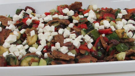 Grilled zucchini & bell pepper fattoush with feta cheese.