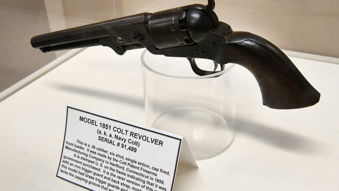 """This Colt revolver model 1851, circa 1859, is part of """"The Battle of Campbell's Station"""" exhibit at the Farragut Museum that opened Monday, Jan. 22, 2018."""