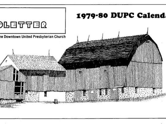 """This drawing shows the original barn from 1806 at far left and the two """"newer barns"""" — the smaller one was built in 1820 and moved to the current foundation in the 1860s, and the larger one was built in 1908."""