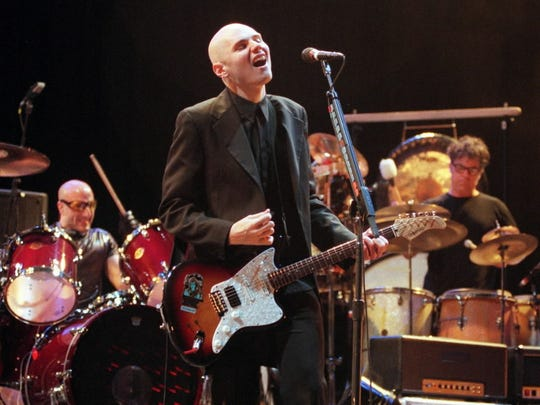 Smashing Pumpkins Lead Singer Billy Corgan and his band preform at the Marcus Amphitheather on the last night of Summerfest.
