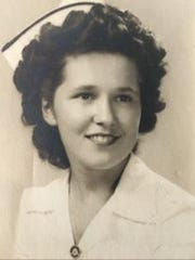 This is Daigle's girlfriend, Rachel Bourgeois, in her graduation photo from the Fanny Allen Hospital School of Nursing, 1945.