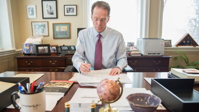 Ball State University President Geoffrey Mearns works in his office on Jan. 9 at the start of the spring semester.  He is launching a committee to draft a new strategic plan.