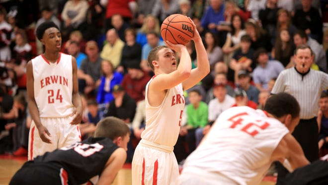 Erwin's Colby Maltry shoots a free throw during the Feb. 6 game between Erwin and North Buncombe in Asheville.