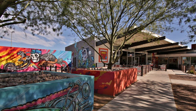 The exterior courtyard of Paz Cantina in downtown Phoenix.