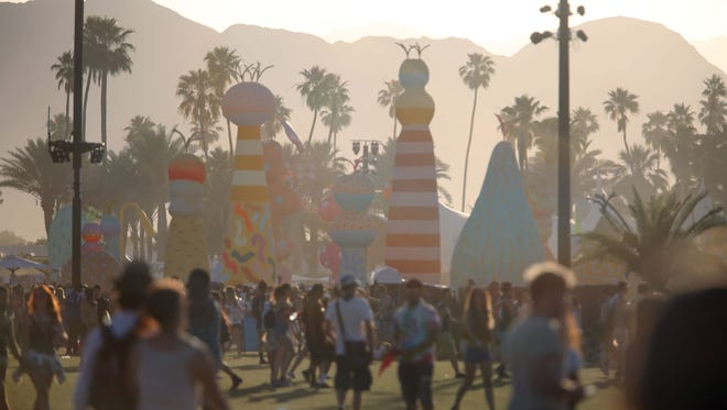 Apr 22, 2017; Indio, CA, USA; Sunset at the Coachella Valley Music and Arts Festival at Empire Polo Club. Mandatory Credit: The Desert Sun-USA TODAY NETWORK