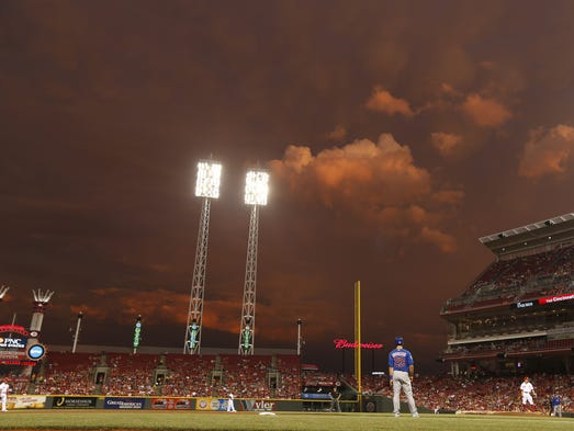 After a short rain delay, Cincinnati Reds fans were treated to an amazing sunset during the Reds' game against the Chicago Cubs at Great American Ball Park.