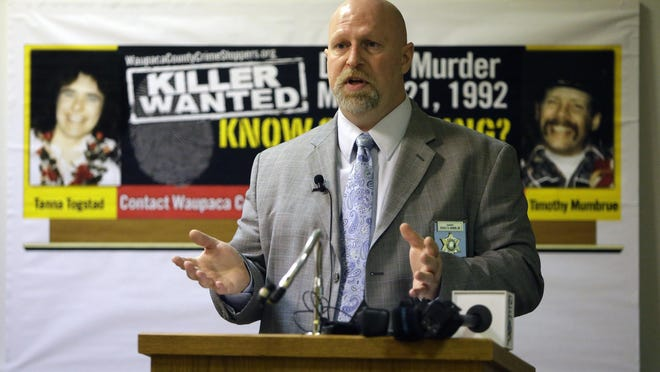 """Waupaca County Sheriff Brad Hardel gives information to the media during a 2013 press conference regarding the arrest of Glendon Gouker in connection to a 1992 Iola sex assualt. Gouker is a """"person of interest"""" in the 1992 homicides of Tanna Togstad and Timothy Mumbrue."""