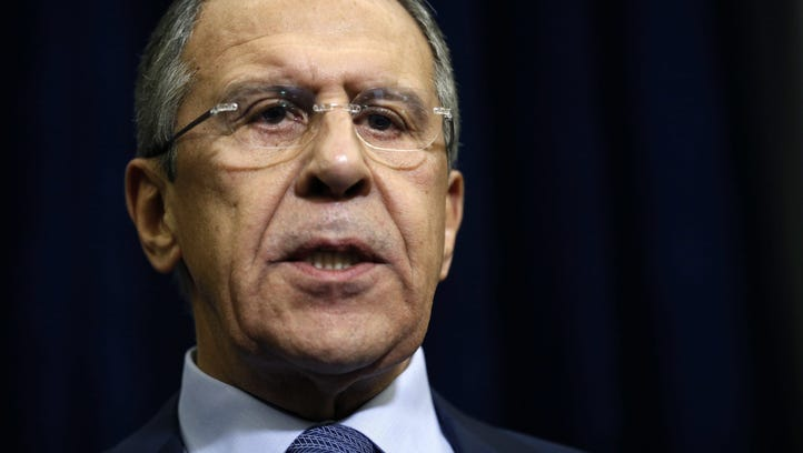 Russian Foreign Minister Sergei Lavrov speaks to journalists