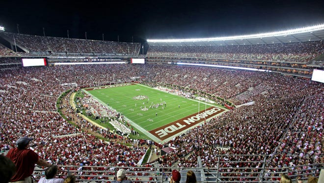 Wide view of Bryant-Denny Stadium during the second half of an NCAA college football game between Alabama and Mississippi, Saturday, Sept. 19, 2015, in Tuscaloosa, Ala.