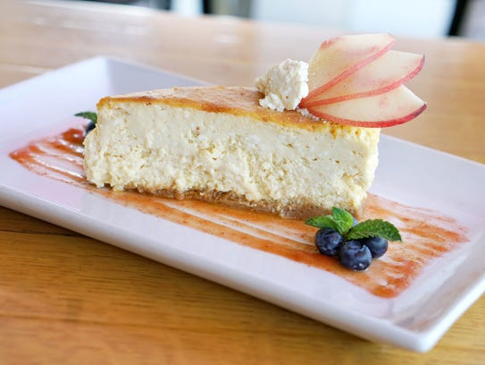 The white peach cheesecake at Market Street Kitchen.