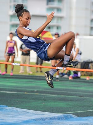 Guam High School Panthers' Jailynn Jones competes in the high jump event during the Independent Interscholastic Athletic Association of Guam Track and Field League All-Island meet at the John F. Kennedy High School field in Tamuning on May 28.