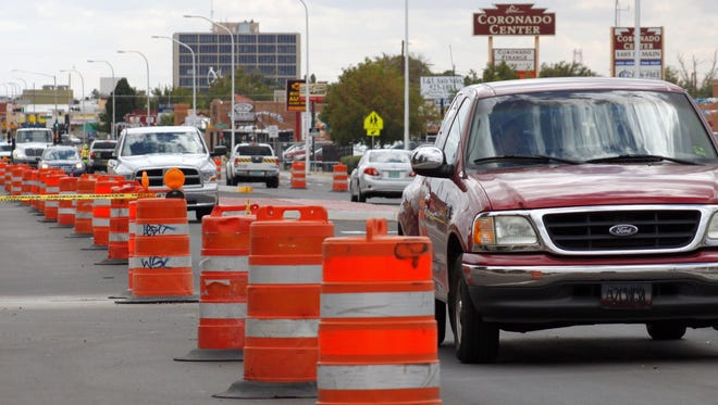 Traffic travels along North Main Street on Friday as construction continues.