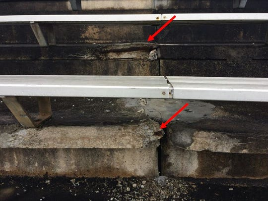 Photos shared with school officials pointed out concrete