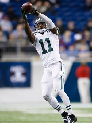 Jets wide receiver Jeremy Kerley makes a reception against the Buffalo Bills during Monday night's game at Ford Field in Detroit.