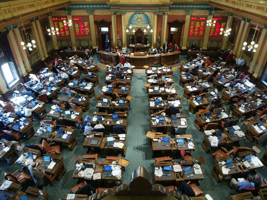 View of the chambers of the Michigan legislature at
