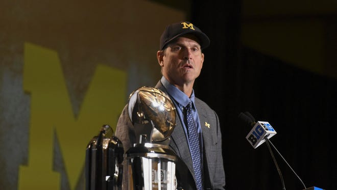 Jul 25, 2016; Chicago, IL, USA;  Michigan Wolverines head coach Jim Harbaugh addresses the media during the Big Ten football media day at  the Hyatt Regency.