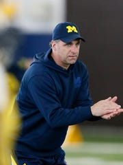 Michigan secondary coach Michael Zordich during Michigan