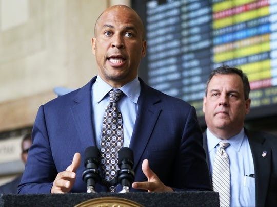 U.S. Senator Cory Booker and then Gov. Chris Christie held a press conference at Newark Penn Station in 2017.