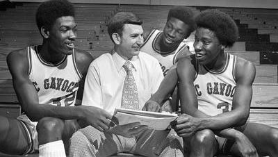 McGavock seniors Charles Davis, left, David Woods and Fred Harris, along with coach Joe Allen led the Raiders to the 1976 Class AAA boys basketball championship.