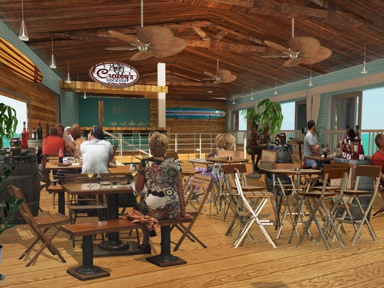 Artist rendering of the interior of a proposed Crabby's Dockside restaurant in downtown Fort Pierce.