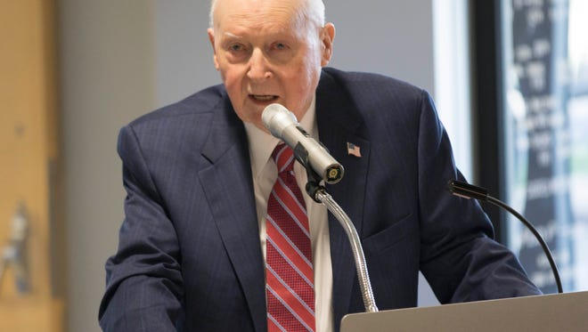 Henry Tippie speaks May 11, 2017, at a dedication ceremony at Kirkwood Community College.