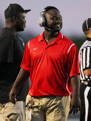 South Fort Myers head coach Anthony Dixon during a pre-season North Fort Myers versus South Fort Myers football game at North Fort Myers high school in North Fort Myers, Florida, on Thursday, Aug. 20, 2015.