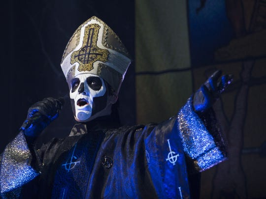 Ghost lead singer Tobias Forge performs during the
