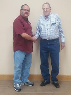 Lee Ramirez Sr. (left), the 2018 Noble Grand of Abilene Lodge 325 of the Independent Order of Odd Fellows, meets with Texas Odd Fellows Grand Master George Richards.