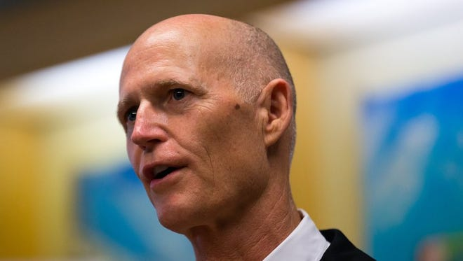 Florida Gov. Rick Scott speaks about the state's job market during a news conference at eMaint Enterprises on Friday, May 6, 2016, in Bonita Springs. Scott spoke at the maintenance software company, which recently relocated its world headquarters to Bonita Springs and plans to add 150 jobs.