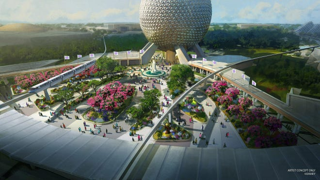 In this artist rendering, a new entrance plaza in development at Epcot will greet guests with new pathways, sweeping green spaces and a reimagined fountain. This design will pay homage to the original park entrance with fresh takes on classic elements.