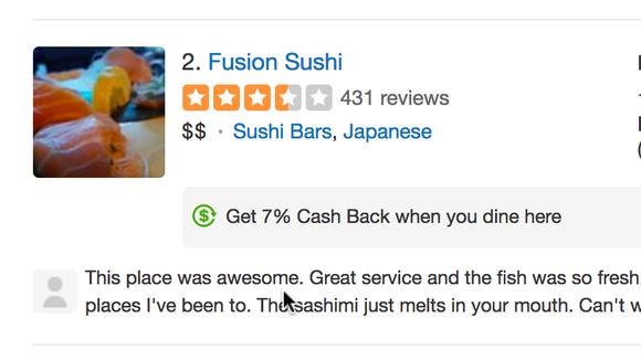 Yelp's cash back offer.