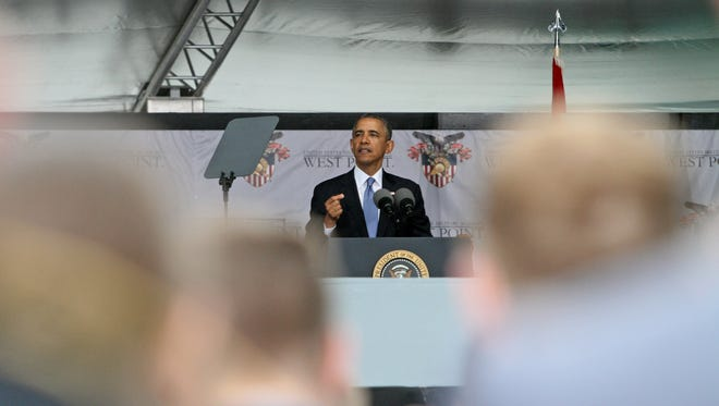 President Barack Obama speaks during the 2014 United States Military Academy commencement exercises at West Point May 28, 2014. The president laid out his vision for American foreign policy after the nation fought two wars since the attacks of Sept. 11, 2001.