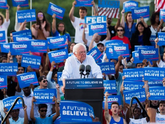 Democratic Party presidential candidate Bernie Sanders speaks at a campaign rally at the D.C. Armory in Washington, DC, June 9, 2016.