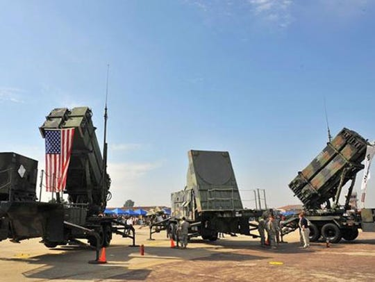 Patriot missile launchers and radar trailer were displayed