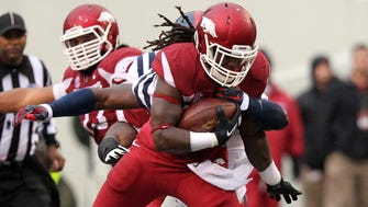 Alex Collins and Arkansas ran all over Mississippi on Saturday.