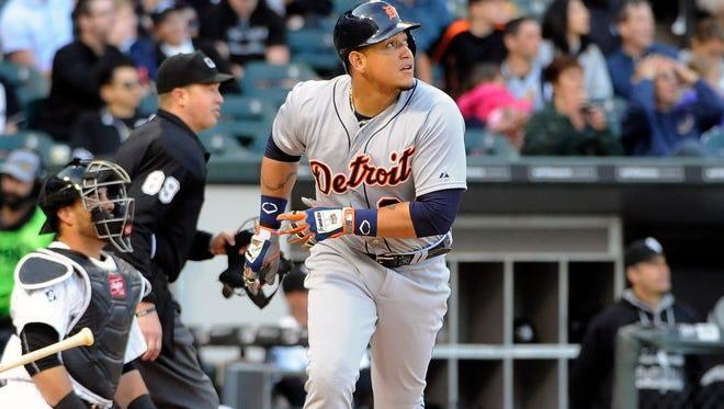 Tigers first baseman Miguel Cabrera (24) runs the bases after hitting a two-run homer in the fifth inning of Saturday's win in Chicago.
