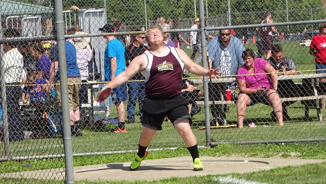 Licking Heights junior Cameron Hershey competes in the discus May 23 during the Division I regional meet at Pickerington North.