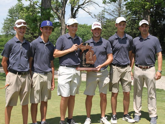 Hartland celebrates its regional golf championship on Thursday, May 31, 2018. From left are Ryan Gniewek, Bryce Brief, Dylan Huck, Mitchell Cotten, Alex Willis and coach Nathan Oake.