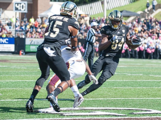 WMU WR Corey Davis fights for a touchdown late in the