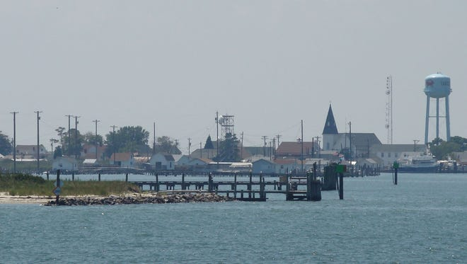 A panoramic view of Tangier Island as viewed from a ferryboat.