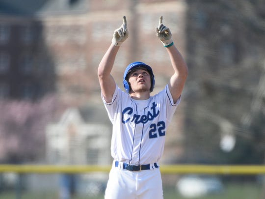 Cedar Crest's Ethan Stickler celebrates a hit during the Falcons' season opener against Lebanon on March 24.